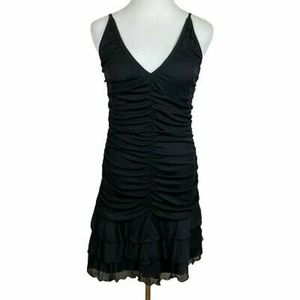 Moda Ruched Black Spaghetti Strap Dress